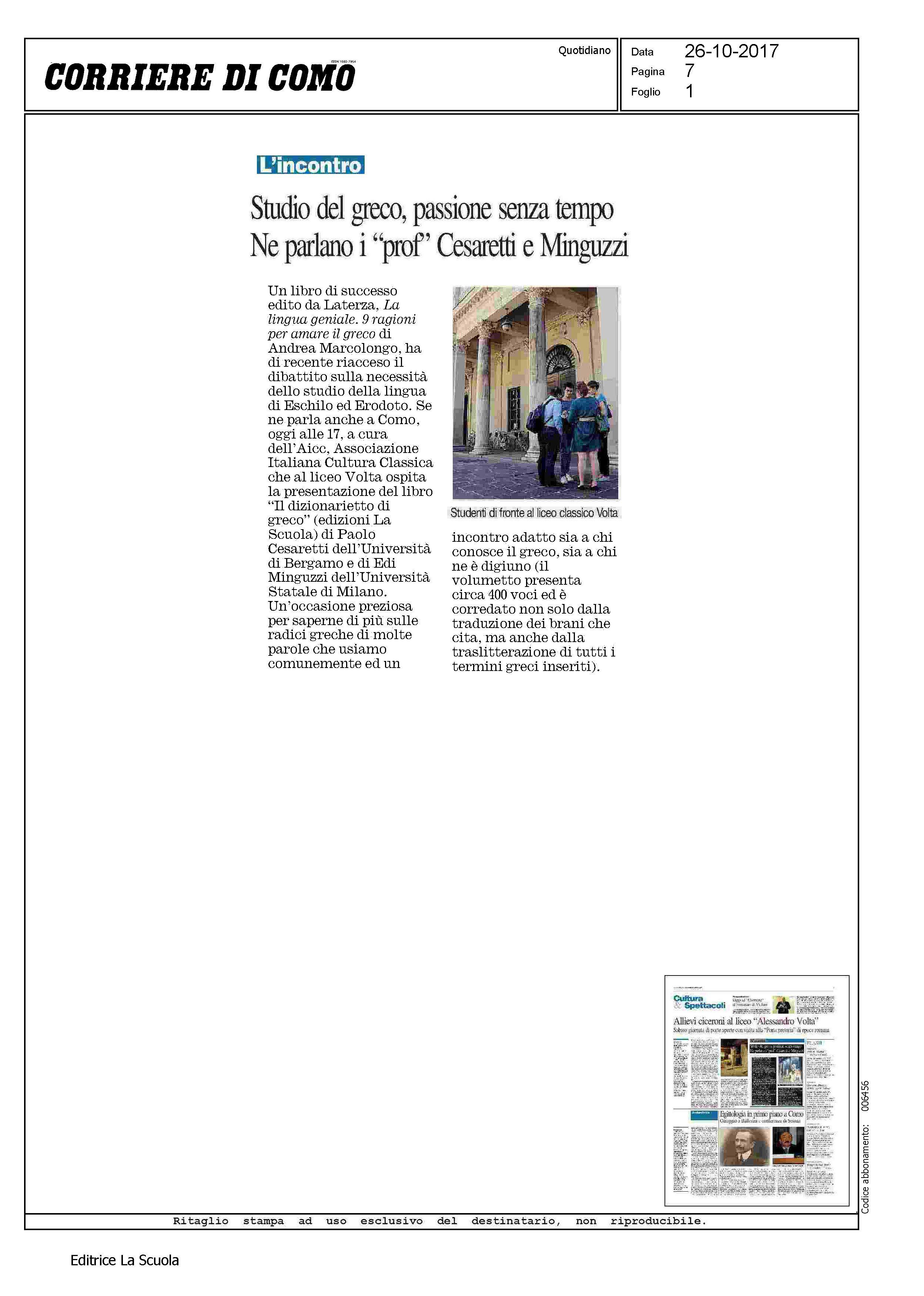 Els Corriere di Como 26 10 2017 Dizionar
