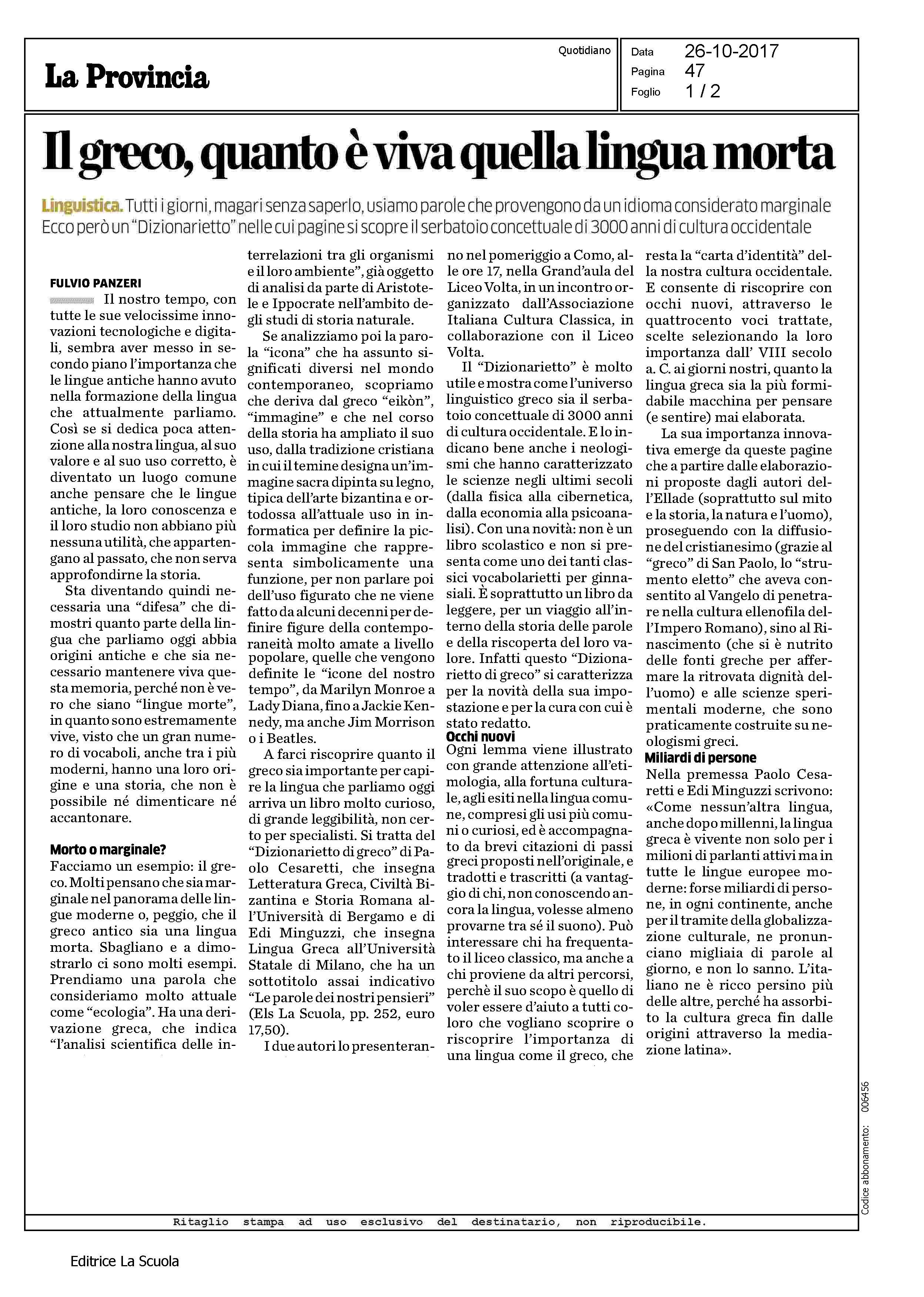 Els PROVINCIA COMO LECCO SONDRIO 26 10 2