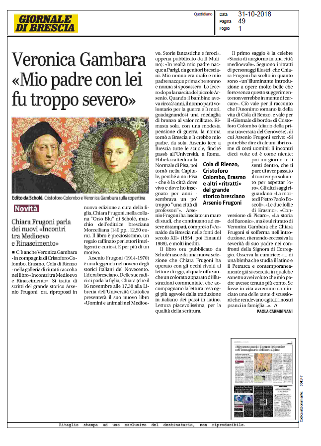 Scholé Giornale di Brescia 31 10 2018 F