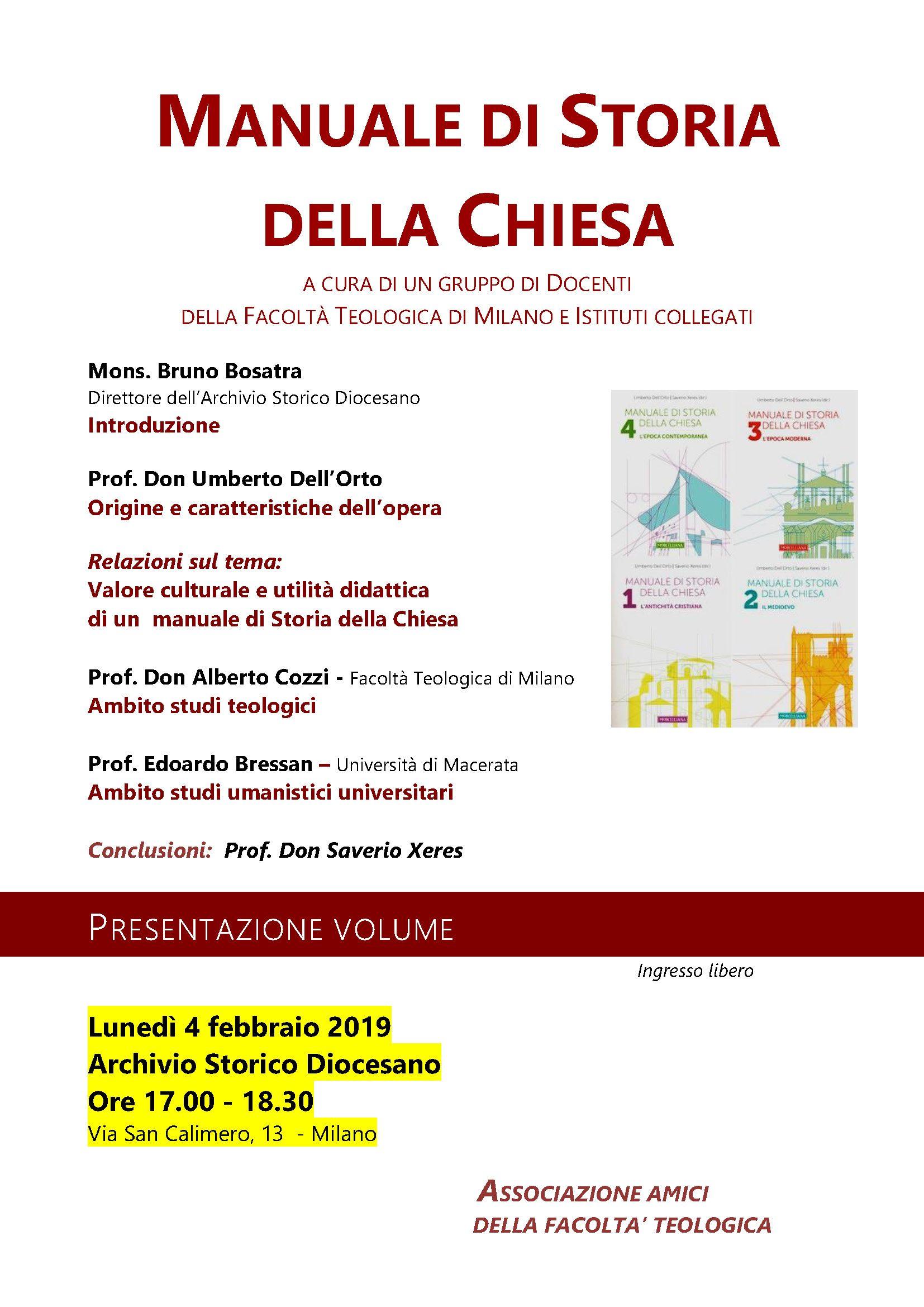 Milano-4 febbraio manuali storia chiesa.