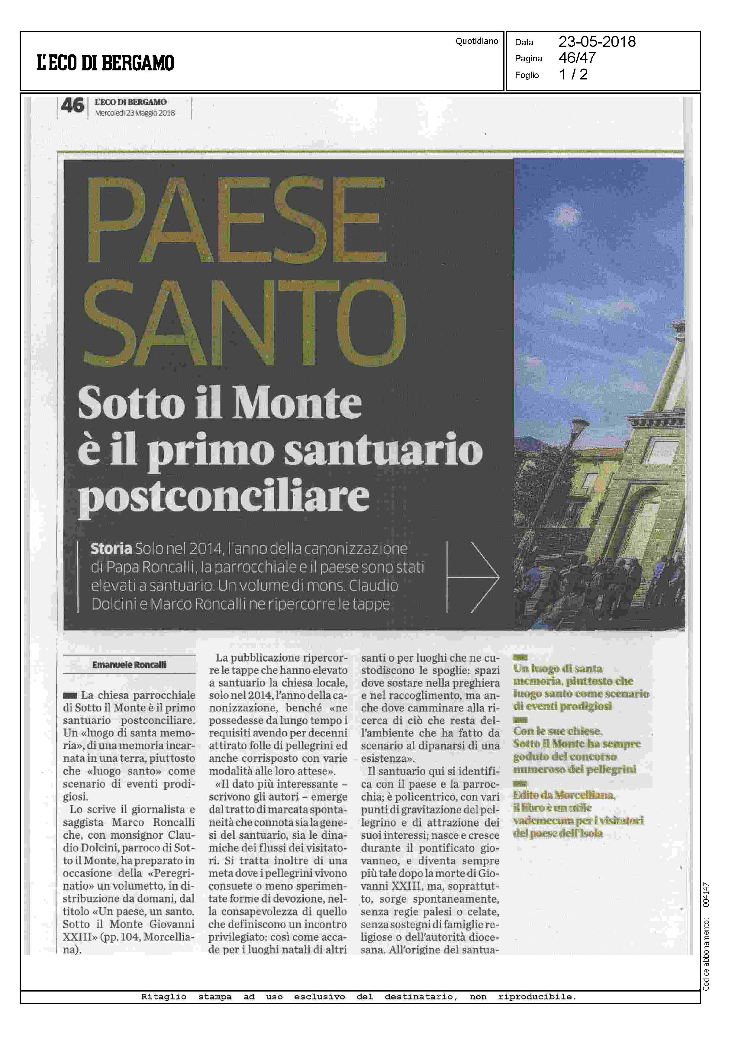 Morc Eco di Bg 23 5 2018  Dolcini_Pagina